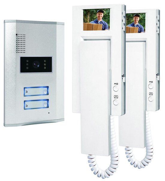 Smartwares VD62 - Video deurintercom set voor 2 appartementen - 4 draads - 2-weg audio communicatie - Wit